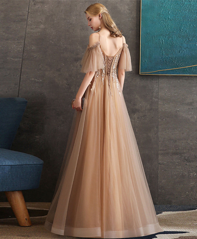 Champagne tulle lace long prom dress tulle formal dress