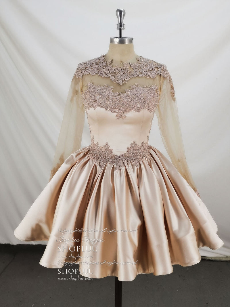 Champagne pink satin lace short prom lace bridesmaid dress