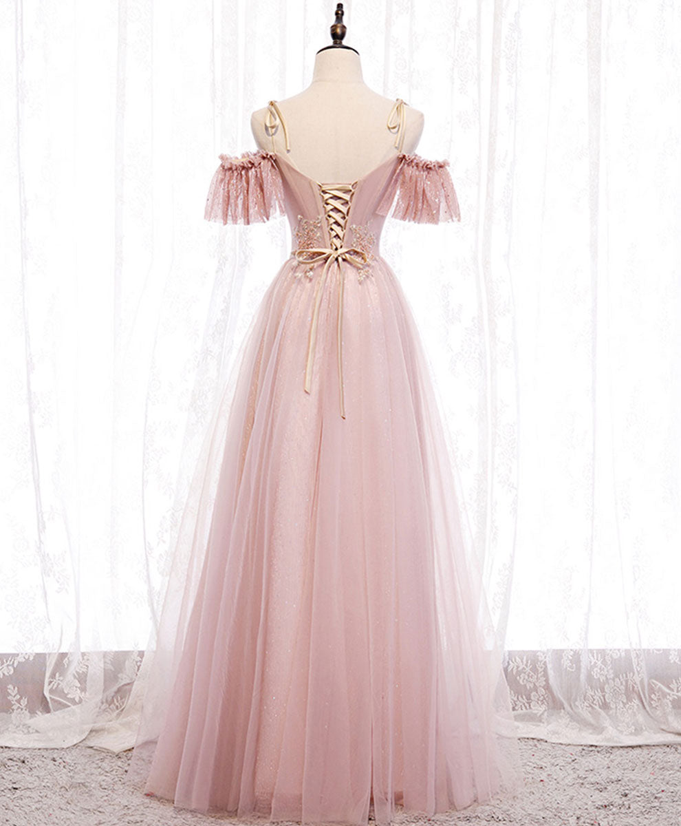 Pink v neck tulle lace long prom dress pink bridesmaid dress