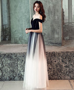Simple tulle off shoulder black long prom dress, black tulle evening dress