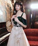Green tulle lace long prom dress green lace formal dress