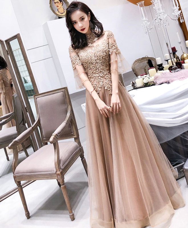 Champagne high neck tulle lace long prom dress, champagne evening dress