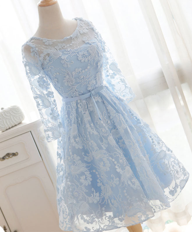Blue round neck lace short prom dress, bridesmaid dress