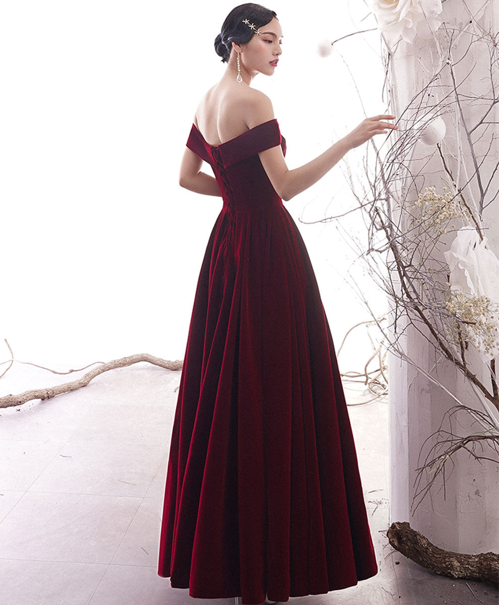 Simple burgundy long prom dress burgundy evening dress