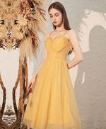 Yellow sweetheart tulle short prom dress yellow formal dress