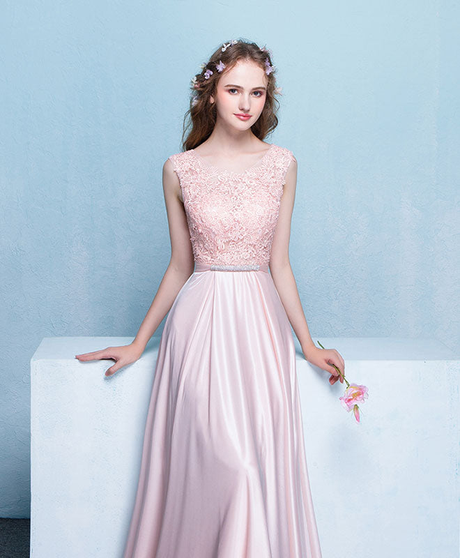 Pink round neck lace long prom dress. pink evening dress