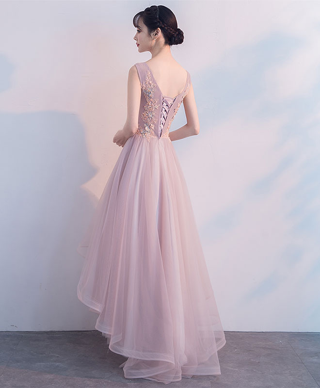 Cute v neck light pink tulle lace prom dress, tulle evening dress