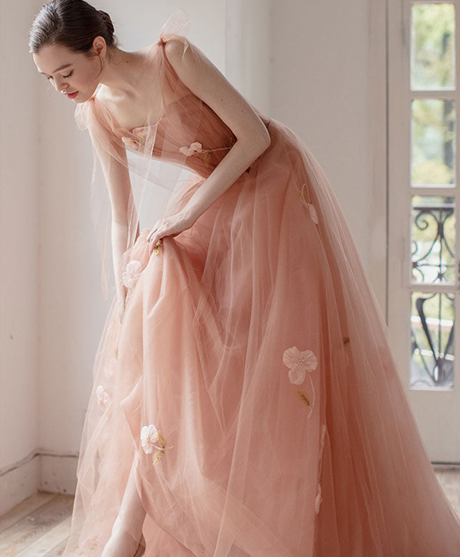 Pink v neck tulle long prom dress, tulle evening dress