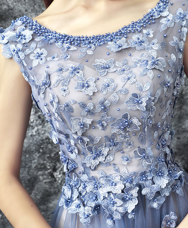 ae87927aa39 Blue lace applique beads tulle long prom dress