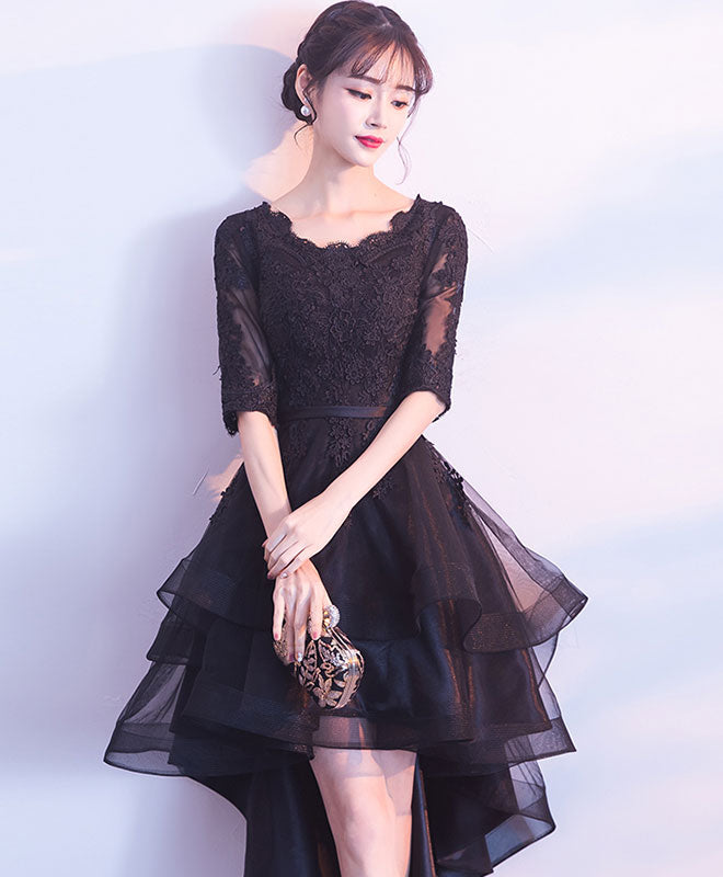 Cute black tulle lace short prom dress, black bridesmaid dress