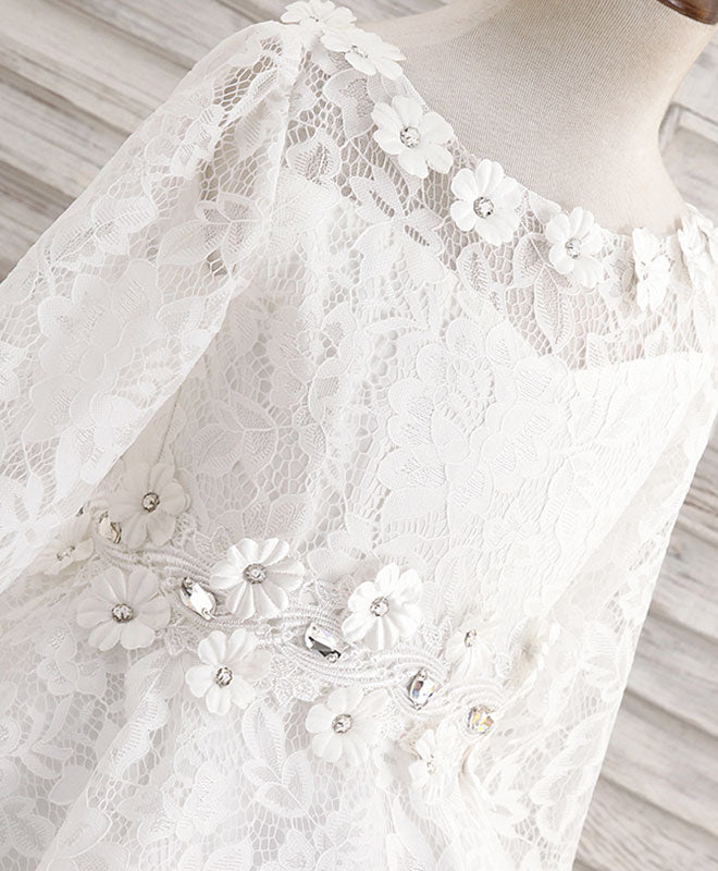 White round neck lace flower girl dress, lace baby dress