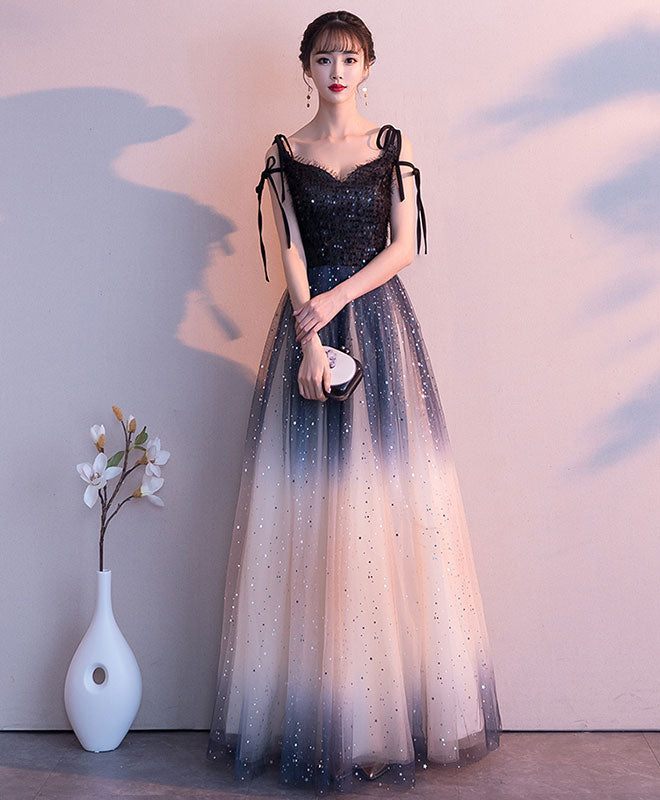 Black sweetheart tulle sequin long prom dress, black evening dress
