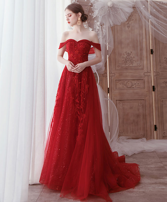 Burgundy tulle lace off shoulder tulle long prom dress evening dress