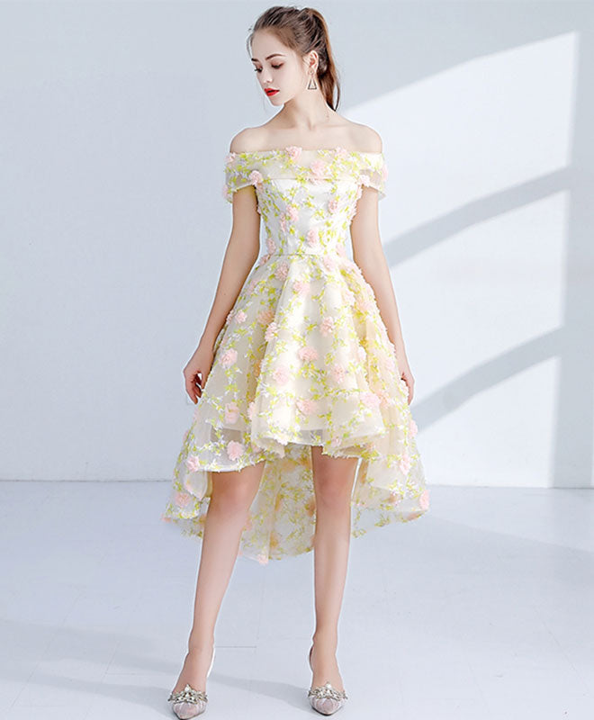 Light yellow 3D lace short prom dress, homecoming dress
