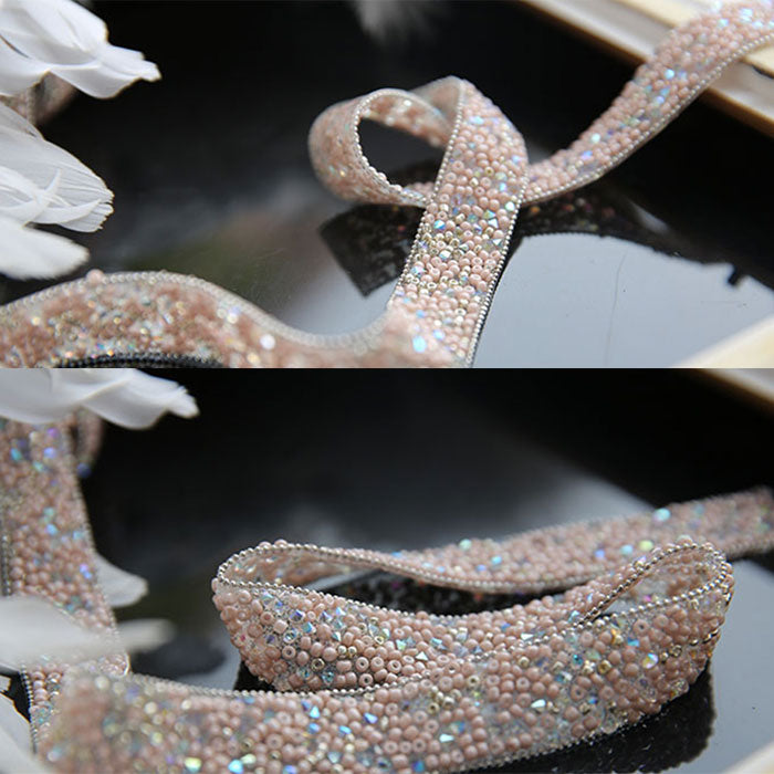 Pink handmade diamond belt, fashion belt