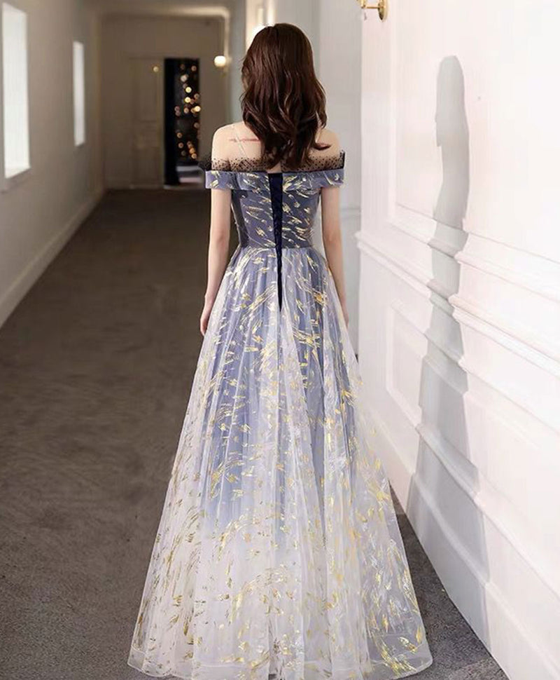 Blue tulle off shoulder lace long prom dress tulle formal dress