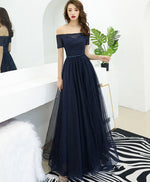Dark blue tulle long prom dress, blue tulle evening dress
