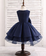Dark blue round neck flower girl dress
