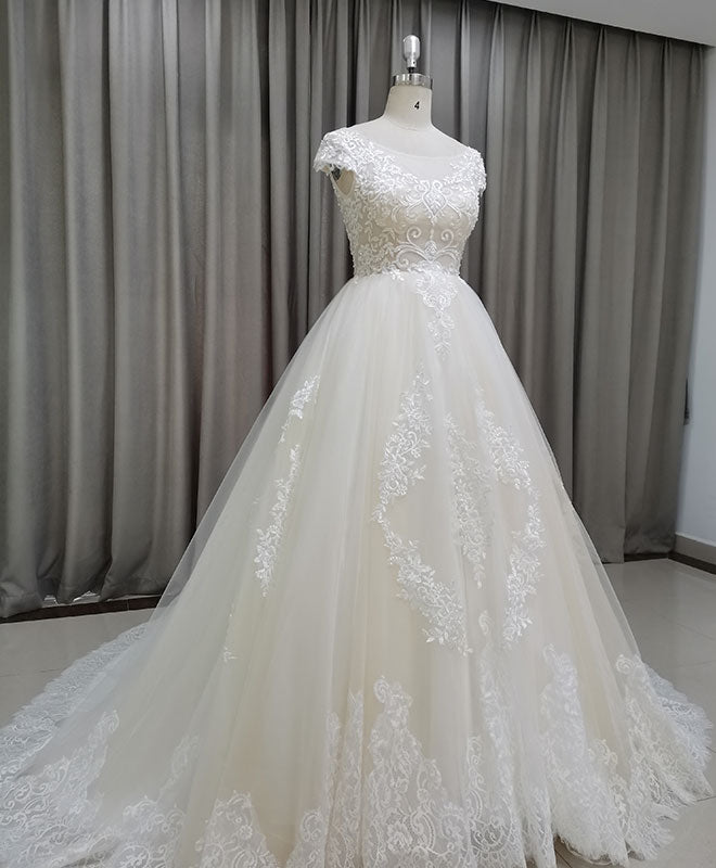 Light champagne tulle lace long wedding dress lace bridal dress