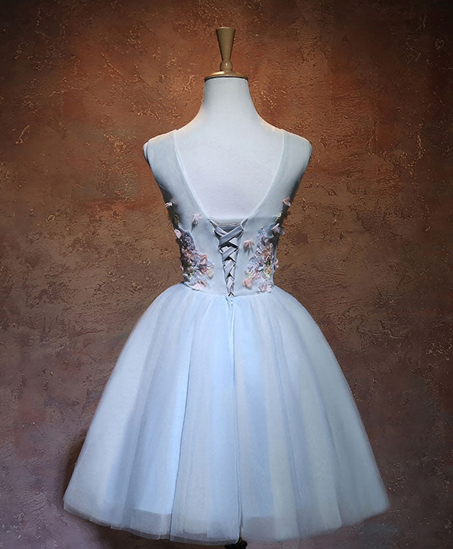 Blue v neck tulle short prom dress, homecoming dress