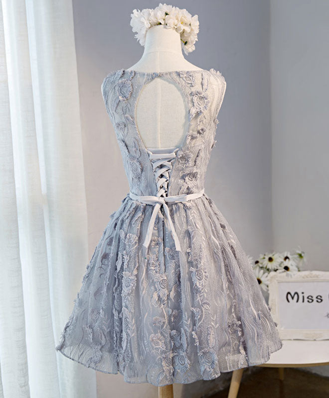 Gray round neck lace short prom dress, cute homecoming dress