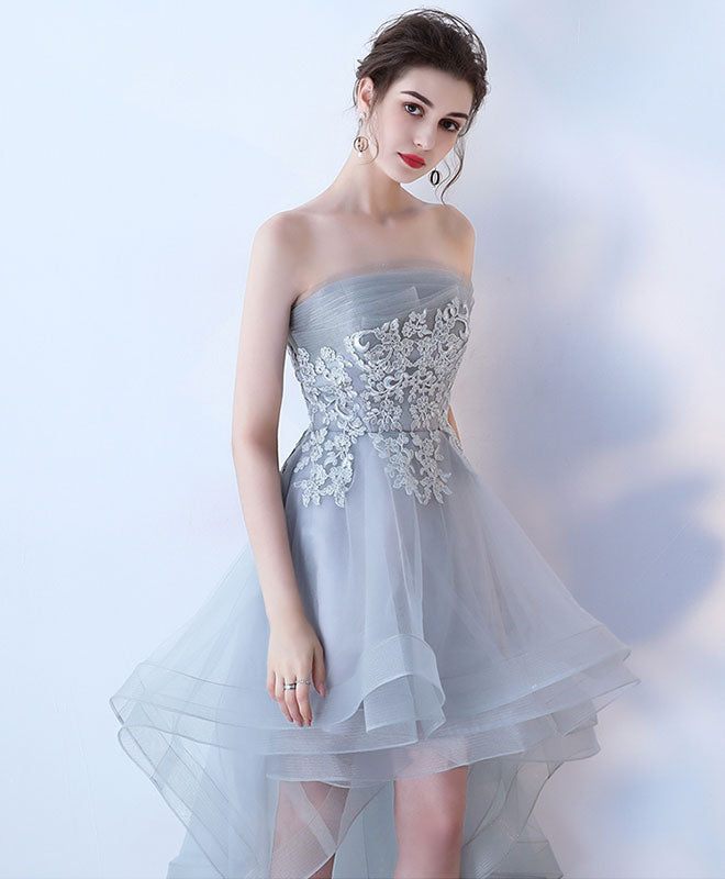 Gray tulle lace high low prom dress, cute homecoming dress
