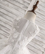 White tulle lace applique flower girl dress