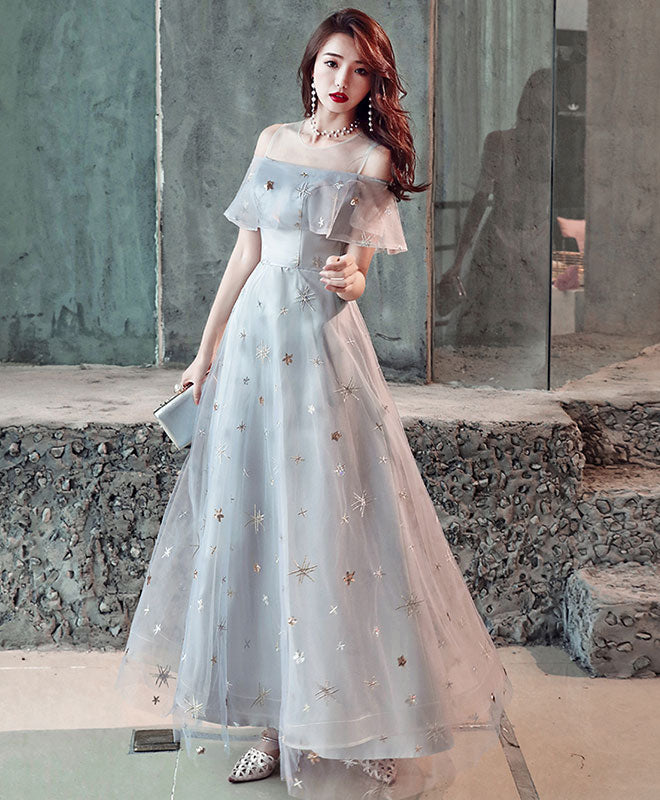 Gray tulle tea length prom dress, gray tulle evening dress