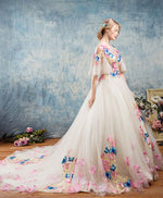 Unique round neck applique tulle long prom gown, tulle evening dress