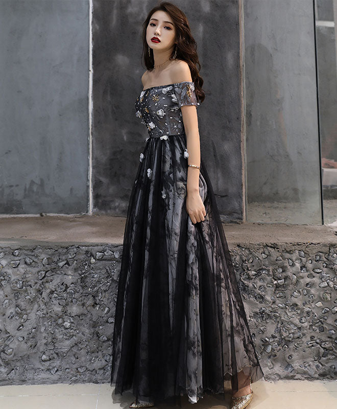 Black tulle lace long prom dress, black tulle evening dress