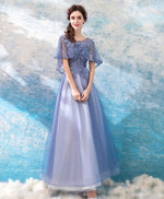 Purple round neck tulle lace long prom dress, purple evening dress
