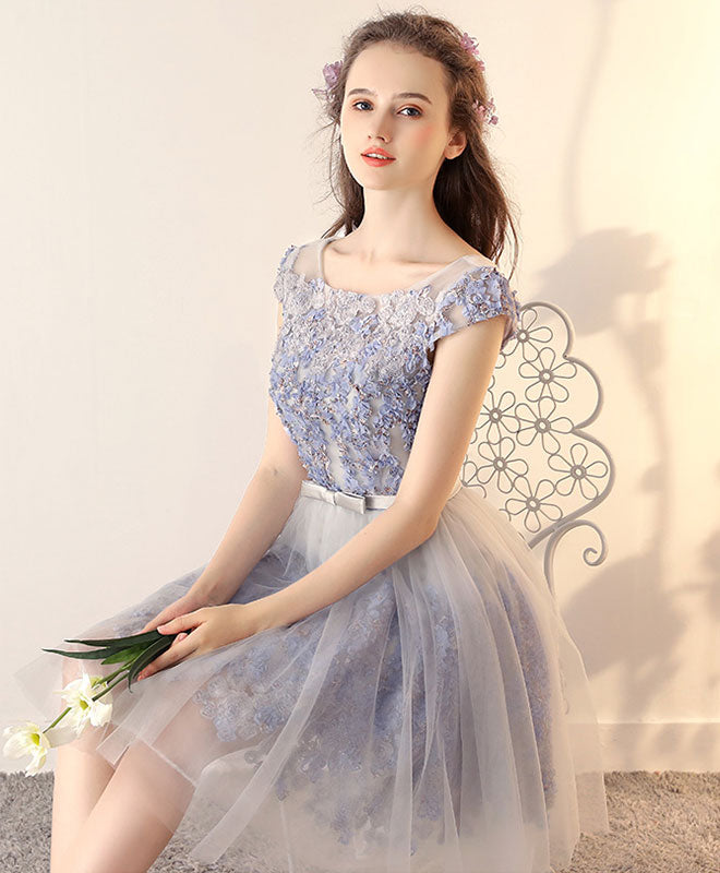 Cute 3D lace tulle short prom dress, homecoming dress