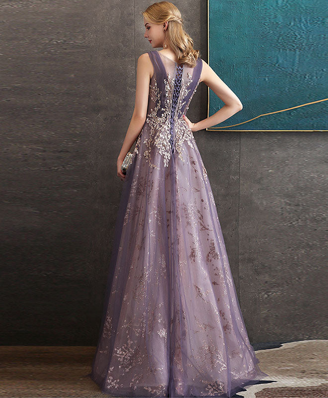Purple round neck tulle lace long prom dress purple evening dress