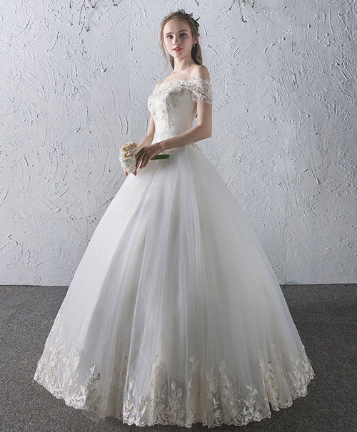 White lace tulle long wedding dress, bridal gown