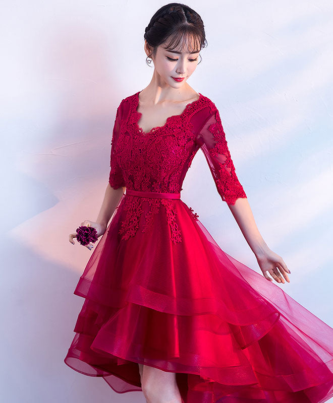 Burgundy v neck tulle lace short prom dress, bridesmaid dress
