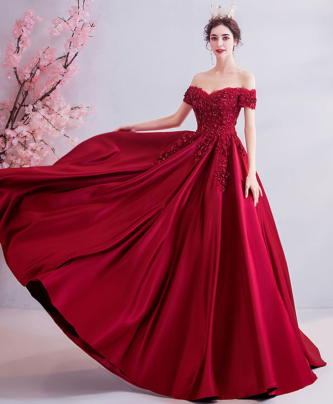 Burgundy off shoulder lace satin long prom dress burgundy evening dress