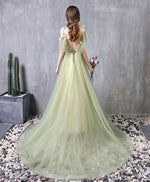 Green tulle lace long prom dress green evening dress