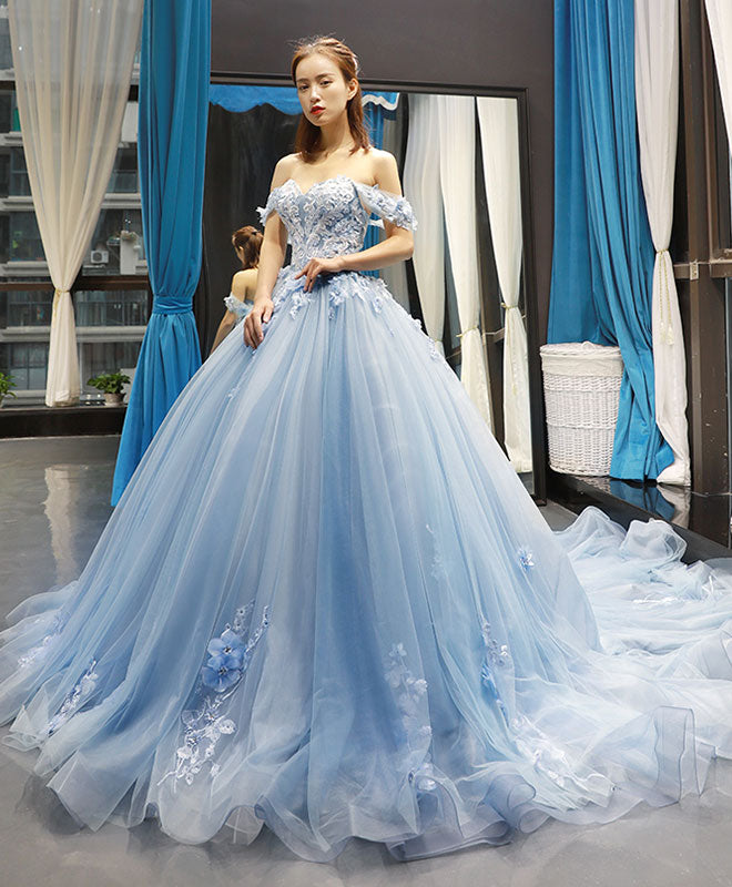 Blue off shoulder tulle lace long prom gown, blue evening dress