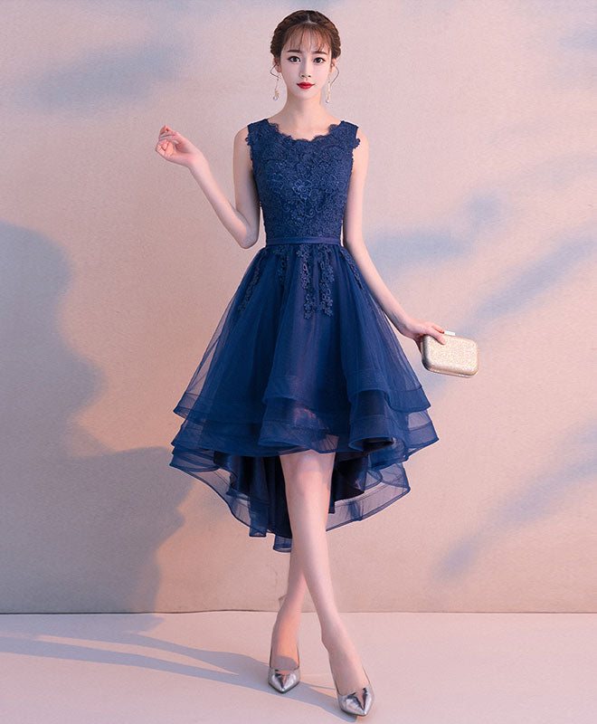 Dark blue tulle lace short prom dress, blue