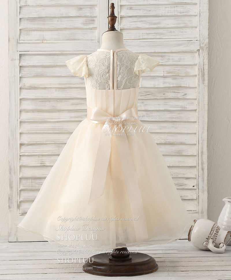 Champagne lace organza short flower girl dresses