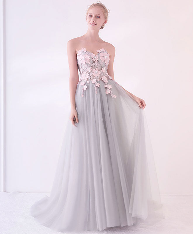 Gray A-line applique tulle long prom dress, gray evening dress