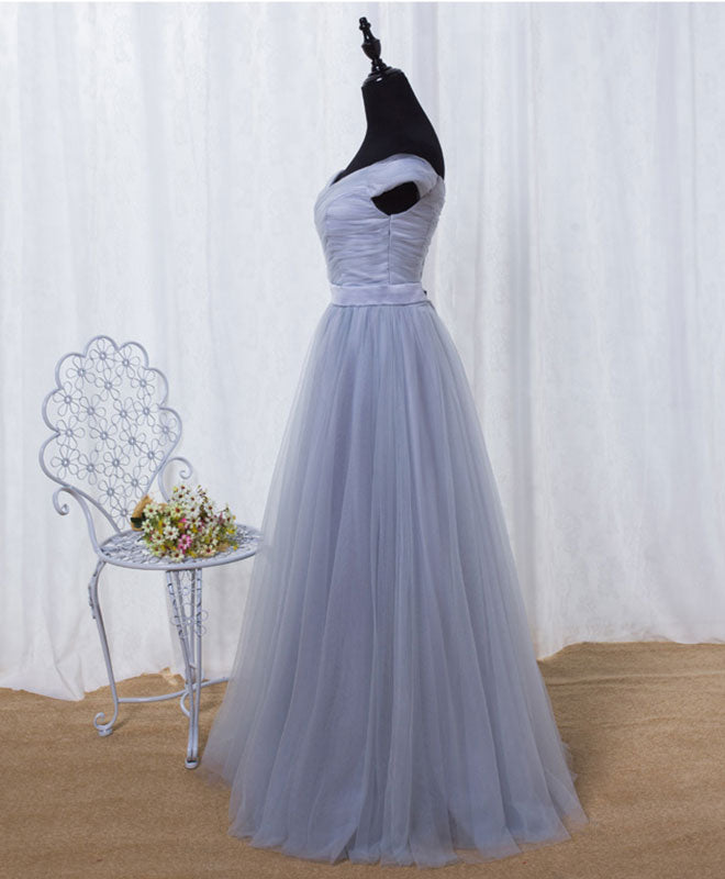Simple A line tulle long prom dress, cheap evening dress
