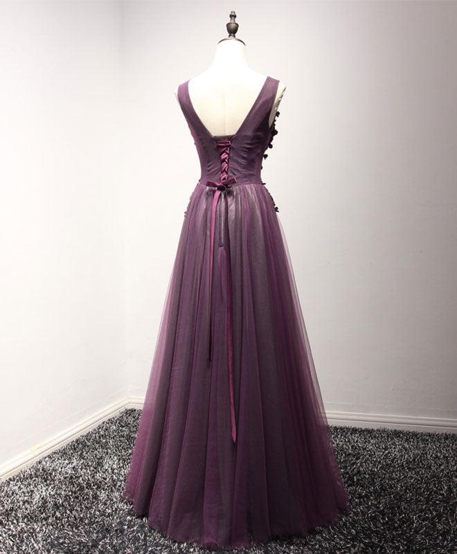 Purple tulle lace v neck long prom dress, purple evening dresses