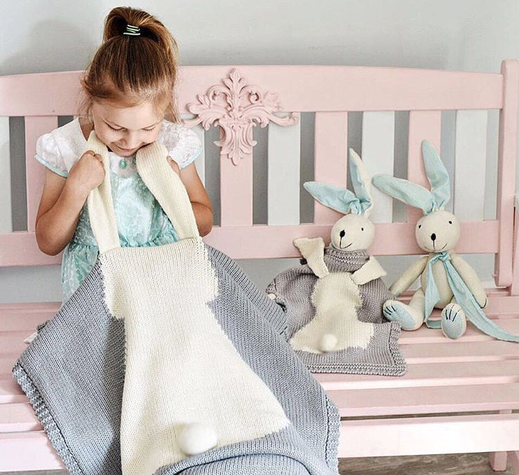 Rabbit ear blanket, blanket children's knitted blanket