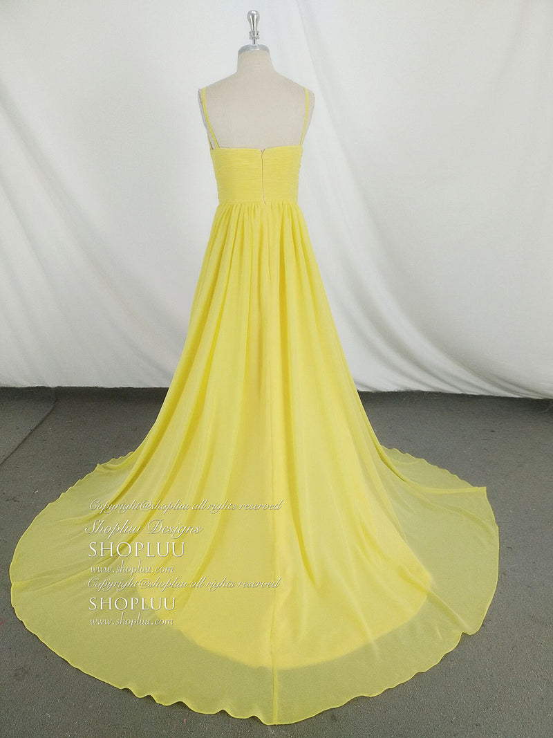 Simple v neck yellow chiffon long prom dress, yellow evening dress