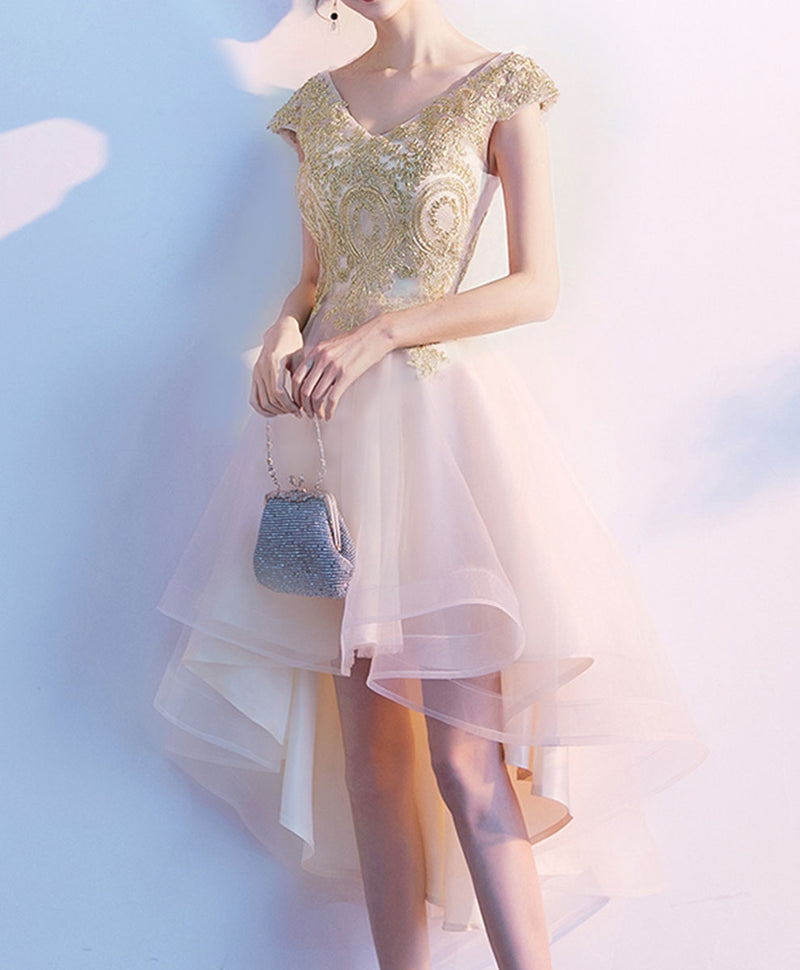 Gold tulle lace high low prom dress lace evening dress