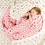 Pink chunky knit blanket knitted blanket, chunky blanket, bulky gift