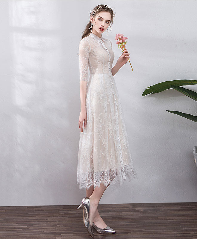 Elegant  tulle lace short prom dress, lace bridesmaid dress