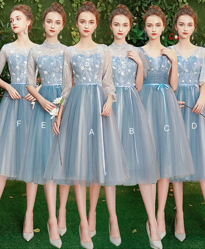 Blue Tulle Lace Short Prom Dress Blue Tulle Lace Bridesmaid Dress