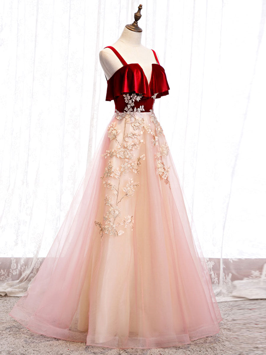 Burgundy A-line tulle lace long prom dress tulle formal dress